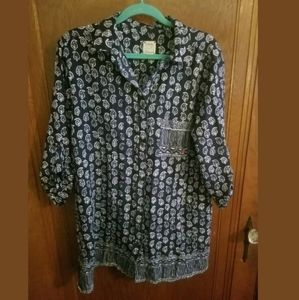 Lucky Brand Button Down Blue & WhitePaisley Top L